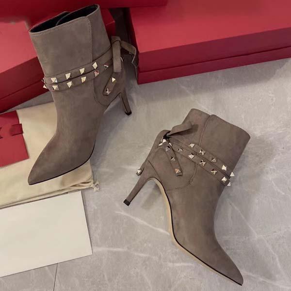 2020_Womens High Heels 80мм замша сапоги зима заклепок заостренный натуральная кожа Насосы Paris Boots Размер 35-41 С коробкой