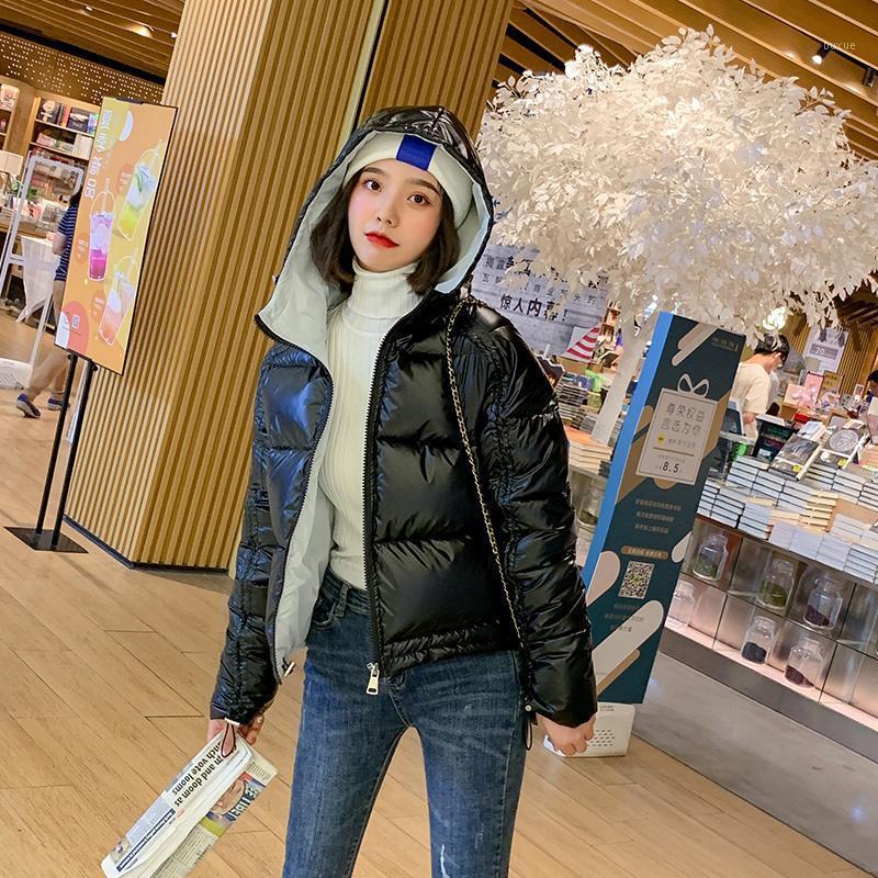 Neue 2020 Winterjacke Frauen Kurzer Glänzend Daunen Baumwolle Gepolsterte Parkas Kapuze Helle glänzende warme dicke Parkas weibliche Mäntel 6 farben1