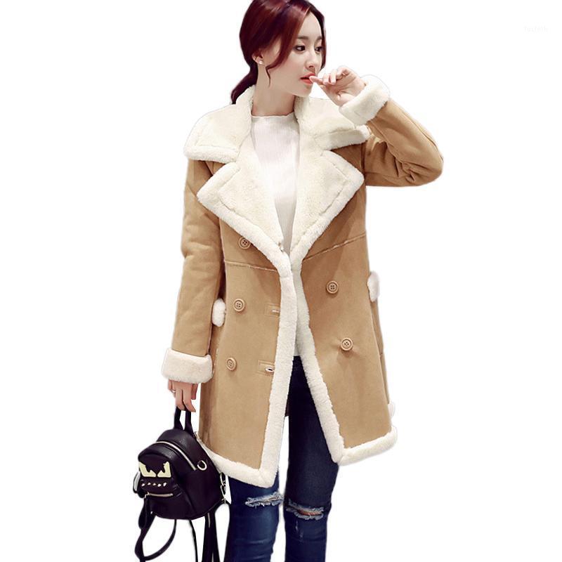 Suede Womens Winterbreamer Winter New 2017 grueso abrigo largo abrigo de moda caliente dobles botonada ropa exterior de gran tamaño camello trinchera coatc2651