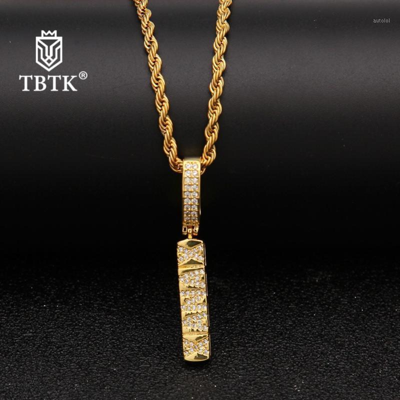 TBTK الغربية الهيب هوب نمط النحاس قلادة قلادة الجميلة تألق الزركون الجراحية قلادة الذهب حبل سلسلة رسالة necklace1