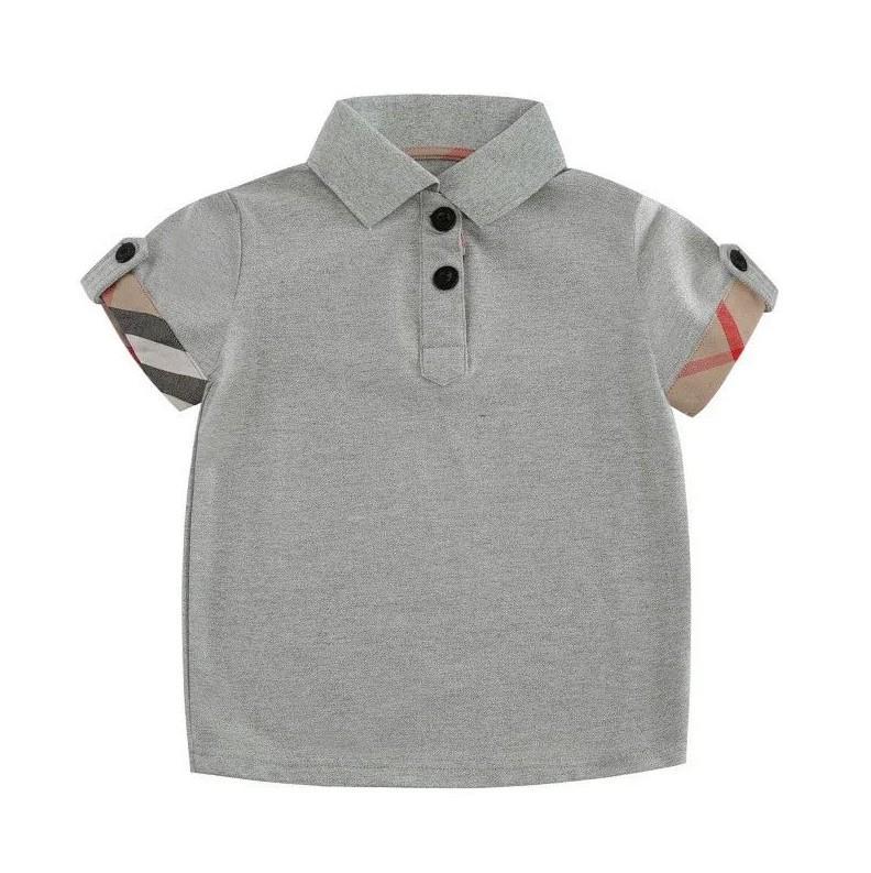 2021 Neue Ankünfte Gentleman Stil Jungen T-shirts Sommerkinder Kurzarm T-Shirt Abzugskragen Kinder Casual Tops T-Shirts
