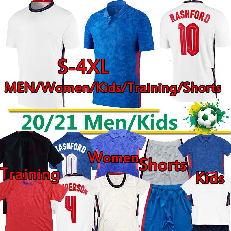 Kane Soccer Jerseys Европейская 2020 года 2021 г. Лига национальной команды Rashford Hele Stearling Home White Away Blue Mout Football Men 4XL