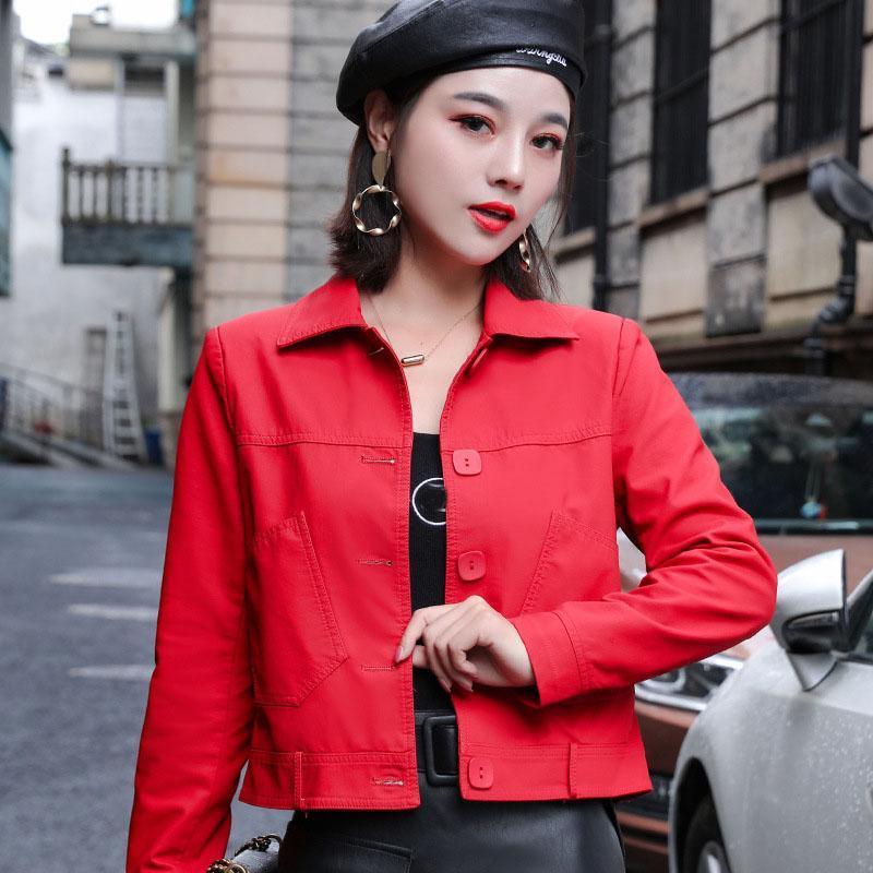 여성용 가죽 가짜 재킷 여성 옷깃 한국어 PU 패션 캐주얼 솔리드 자켓 Outwear