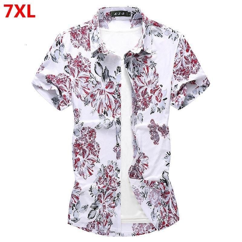 Летний цветок рубашки 130kg мужские цветочные с короткими рукавами футболки мужчин плюс размер свободный тонкий срез прилива