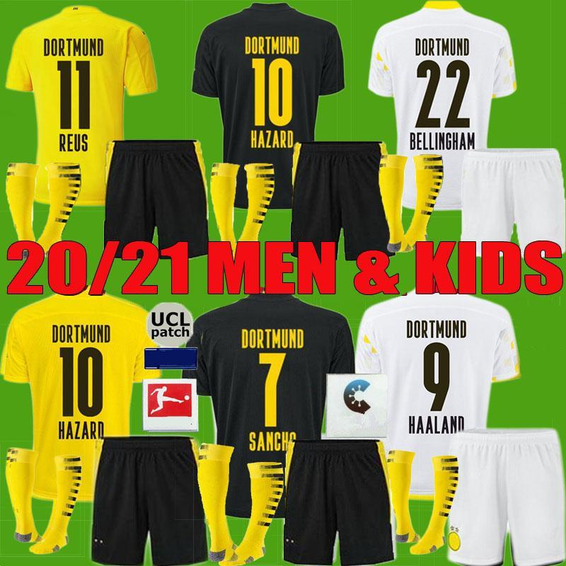 NCAA 20 21 Borussia Haaland Reus Dortmund Futebol Jerseys 2020 2021 Haaland Bellingham Sancho Hummels Brandt Futebol Camisa Men Kids Kit Unif