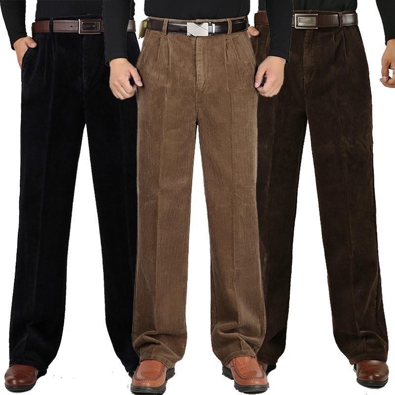 Hombres de invierno Cashmere Pantalones casuales de algodón de los hombres Corduroy Double Plised Cintura Alta Pantalones gruesos sueltos MÁS TAMAÑO 30-44 46 Y200114