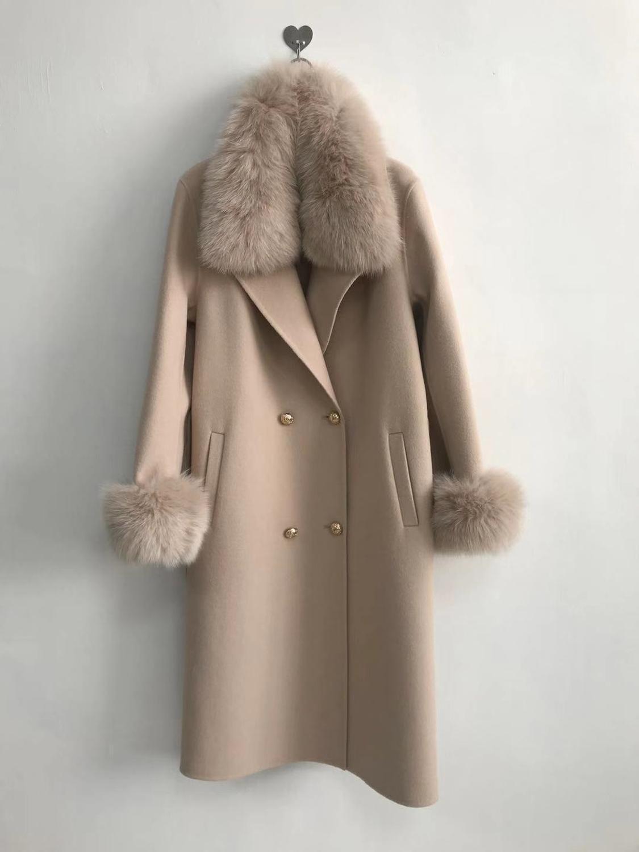 Qiuchen Pj19100 2019 nuovo arrivo del rivestimento di alta qualità cachemire Le donne con il Real pelliccia di Fox colletto e polsini Modella C1111
