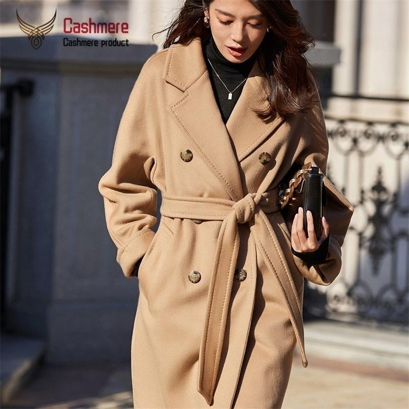 Шерстяная шерстяная 2020 осенью и зима новая классическая двубортная длинная теплое толстое пальто женское плюс размер lj201128
