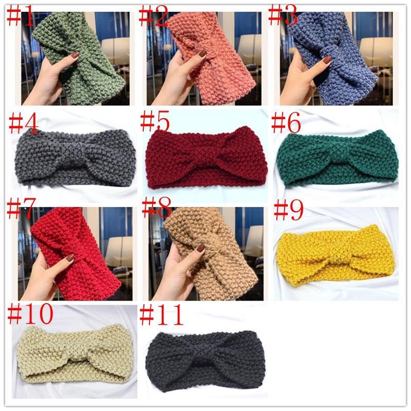 11 farben gestrickte häkeln stirnband frauen winter sport haarband turban yoga kopfband ohr mufffs beanie kappe stirnbänder party favory yya533