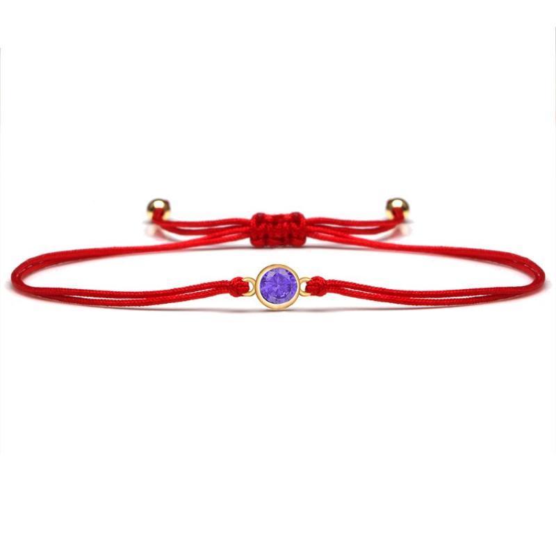 Bracelets de charme brillant violet cubique zircone cristal bracelet rond femme fille fille rouge cordon rouge cz ajustable quotidien chic bijoux cadeau