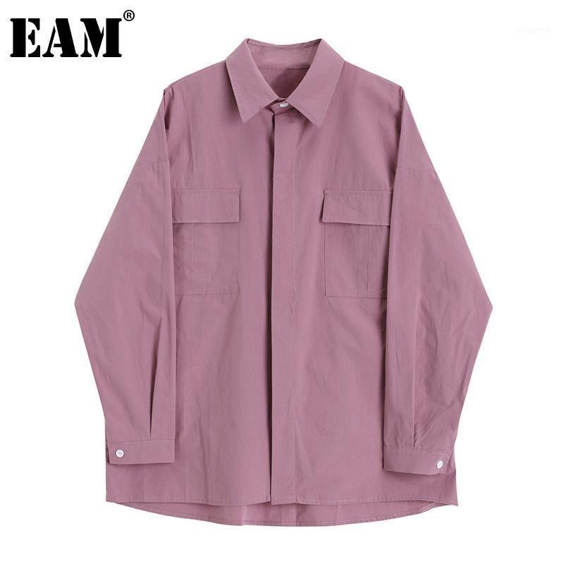 [EAM] Женщины короткий карман большой размер длинной блузки Новый отворот с длинным рукавом свободные подходит рубашка мода прилив весна осень 2020 1da2041