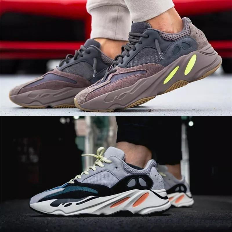 700 Corredor NUEVO Kanye West Mauve Wave Hombres Mujeres Atlético Mejor calidad 700S Botas deportivas Zapatillas de deporte 36-46 con caja