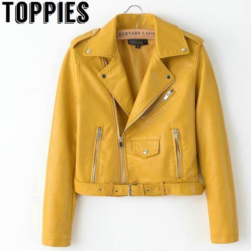 Pelle luminosa PU Donne Yellow Spring Giacche Zipper cappotto di cuoio Turn-down Collar Femminile PU colore dei rivestimenti Rosa Nero 201013