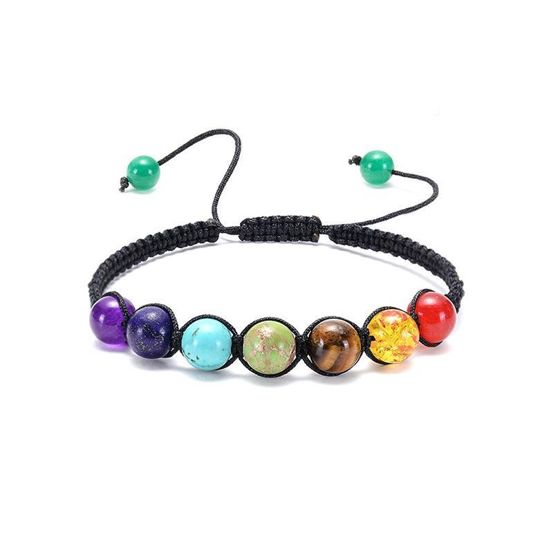 Bracelet de corde tissé à la mode heyuyao, pierre naturelle 7 chakra bracelet de perles pour femmes hommes bijoux