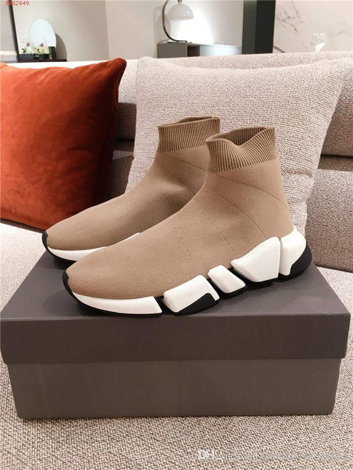 Männer und Frauen Speed Trainer bequeme Socke Schuhe Schwarz Weiß starke alleinige Art und Weise beiläufige Sport Socken Stiefel mit Kasten Größe 35-45