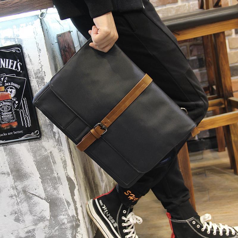 New Men's Shoulder Fashion Oxford Cloth Clutch Black Casual Messenger Document Envelope Bag Laptop Briefcase