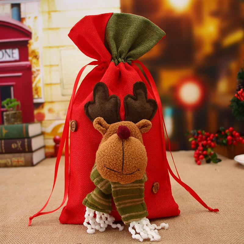 1шт рождественские большие сумки маленький плед Санта-Клаус подарочная сумка дети рождественские украшения конфеты сумка безделушка рождественская елка украшения придайте кнрукс