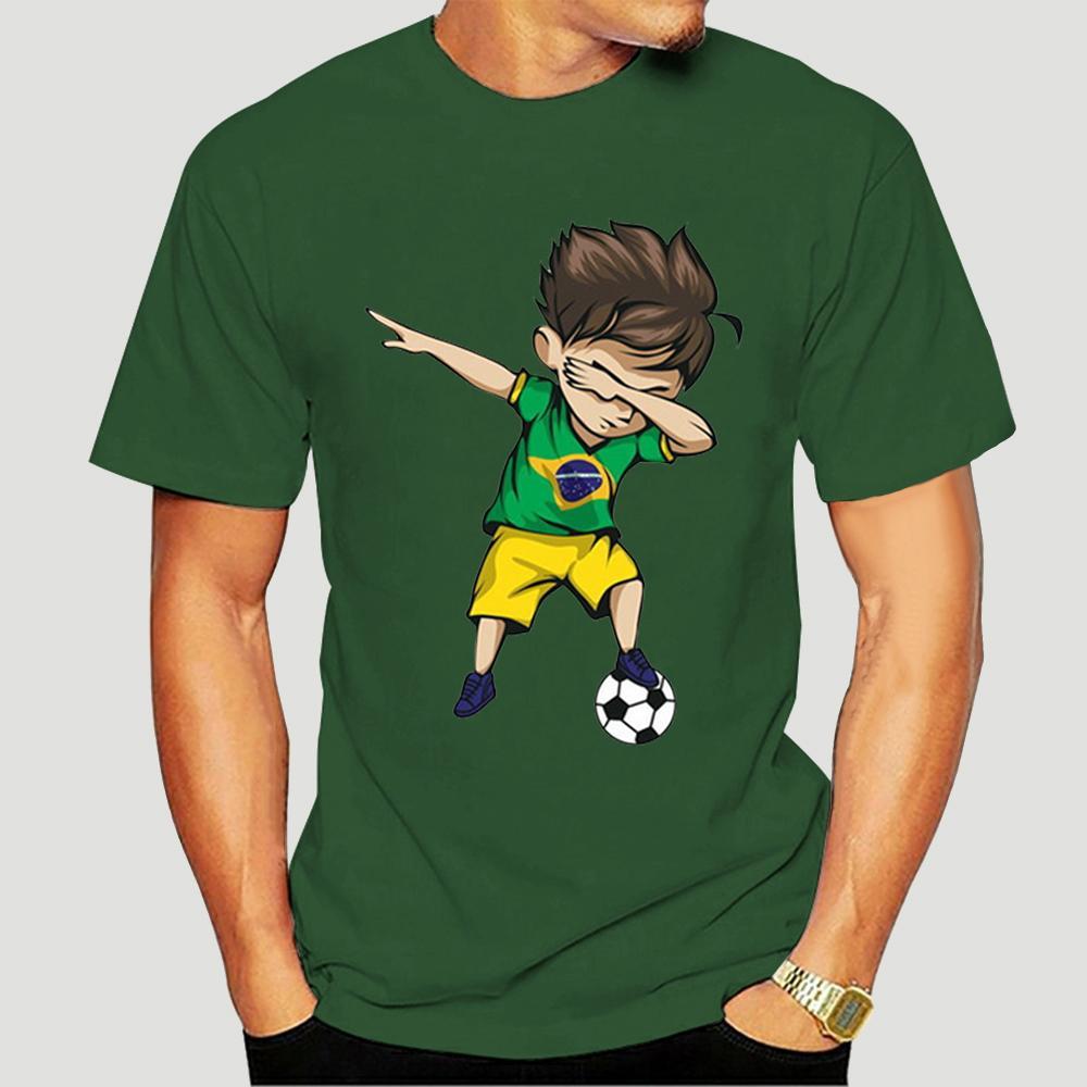Tamponando Soccerite Boy Brasile Maglia Shirt - Brasiliano Calciatore manica corta T-Shirt Top-0718D Sport Felpa con cappuccio Felpa con cappuccio