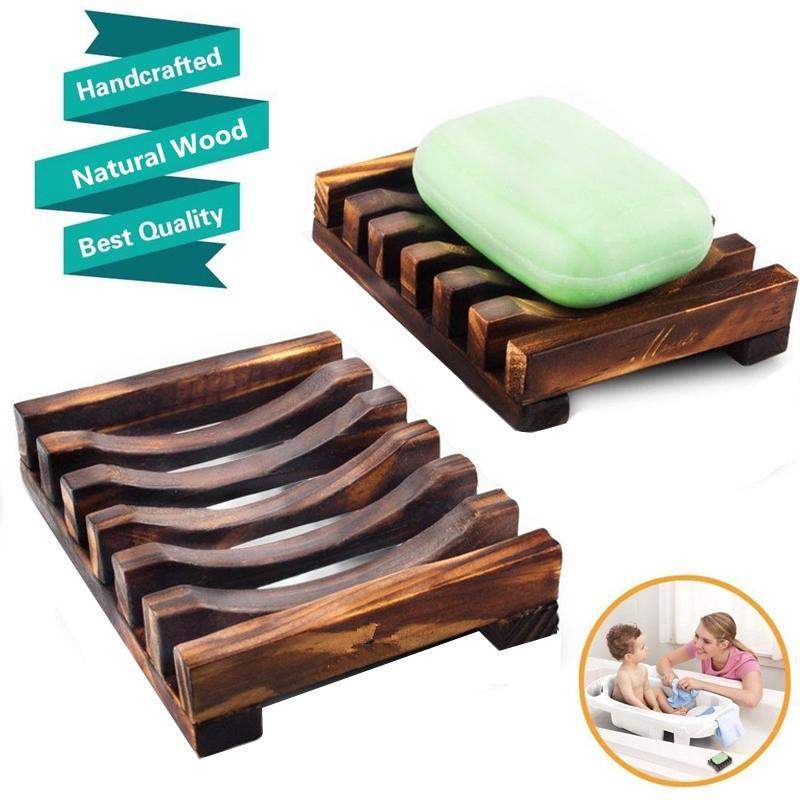 Neue Holz Seifen-Behälter-Halter-Speicher-Seifen-Zahnstange Platten-Container für Badewanne Dusche Platte Badezimmer natürliche Bambusholzseifenschale