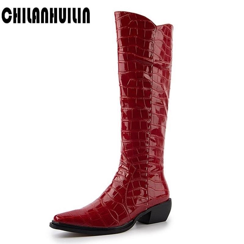 мода заостренный носок змея печати микрофибры кожа колено высокие сапоги середины толстые каблуки обувь женщина осень зима молния снегоступы