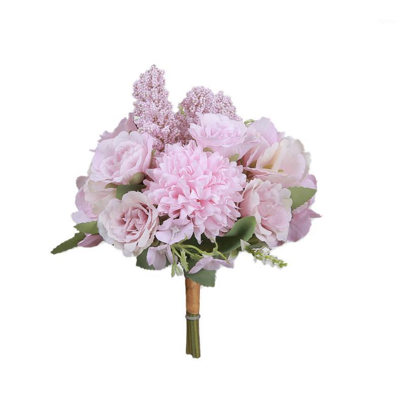 Fiore artificiale casa decorativa decorativa fiore floreale festa di nozze in plastica panno di seta bouquet1