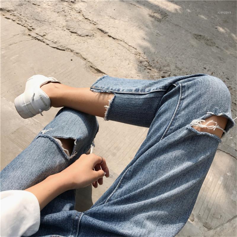 Moda Slim Jeans para mujer Agujero delgado Estirar High Cintura Jeans Mujer Denim Lápiz Pantalones Mujeres Pantalones Tobillo Longitud1