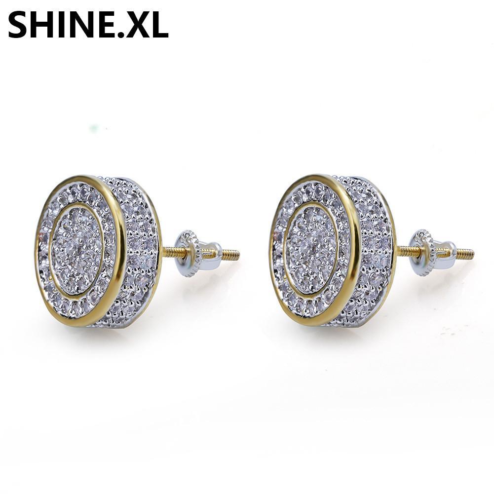 925 Sterling Silber Euro ausgegeben CZ Premium Diamant Cluster Zirkonia Runde Schraube Back Ohrstecker Für Männer Hip Hop Schmuck
