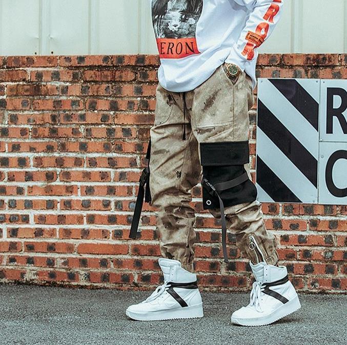 Moda-Kalça Kalça Streetwear Erkek S Kamuflaj Joggers Pantolon 2021 Kurdela Pamuk Kargo Pantolon Pantolon Elastik Bel Harem Erkekler