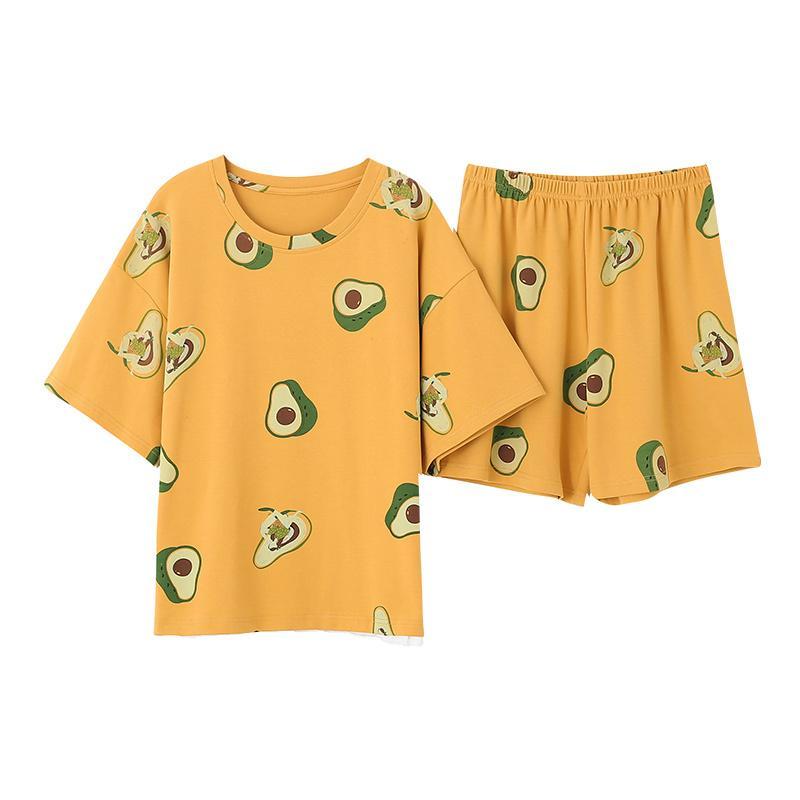 Short Neue Rundhalsausschnitt Avocado Druck beiläufige Hülse Homesuit Homeclothes Fashion Style Pants Yellow Top Pyjama Set