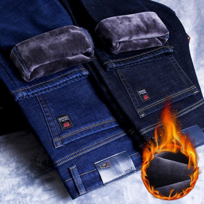2021 شتاء جديد الرجال الدافئة سليم صالح جينز الأعمال الأزياء رشاقته الدينيم السراويل الصوف تمتد العلامة التجارية السراويل الأسود الأزرق