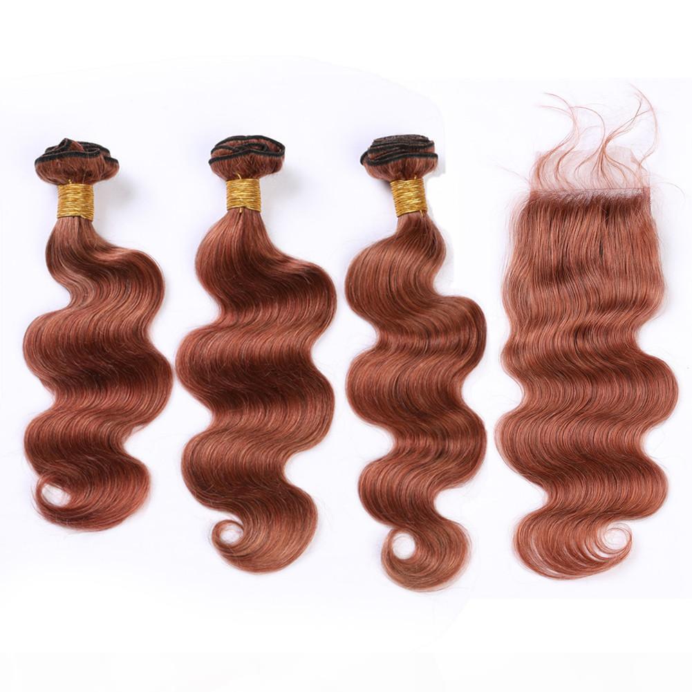 Malesian Dark Auburn Capelli umani Chiusura del pizzo dei capelli umani con 3 bundles # 33 Rame Rosso Body Wave Virgin Hair Weave Extensions con chiusura 4 pz lotto