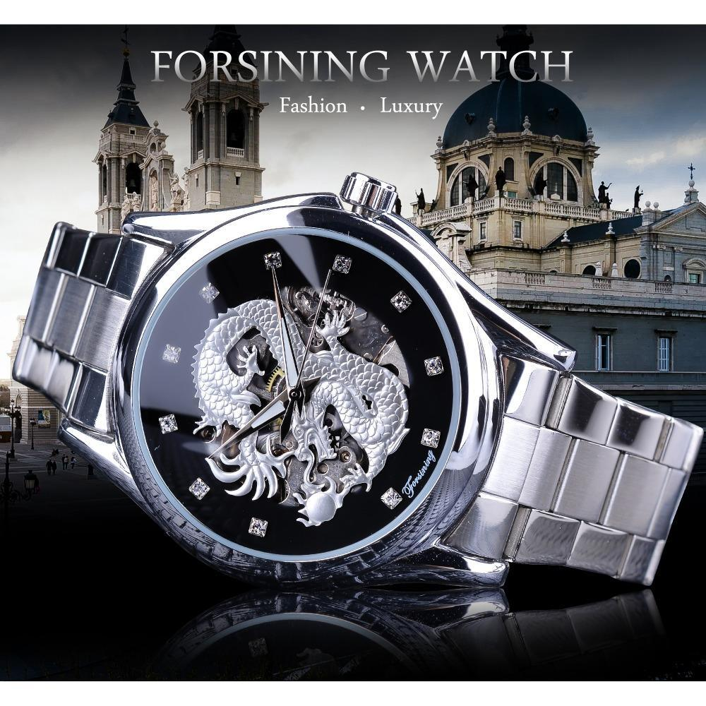 Forsingiance Diamond Montre Design Silver из нержавеющей стал автоматический дракон дисплей мужчин Homme роскошные часы наручные бренд классический верхнюю сталь HEQGX