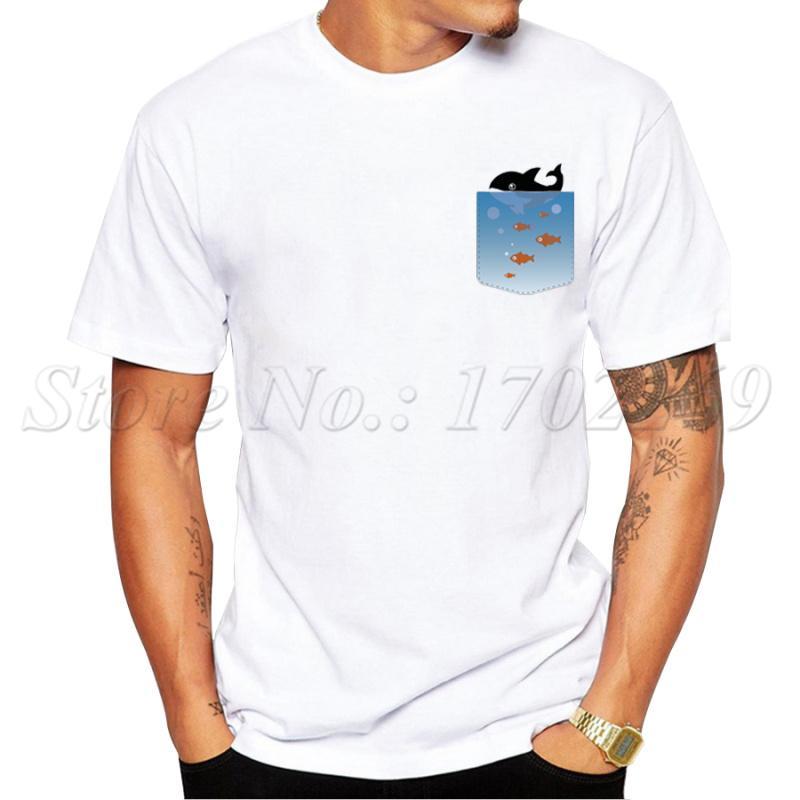 Новое лето Hipster тенниска способ карманного кит креативного Printed Tee рубашка с коротким рукавом Прохладного Tops спорта с капюшоном Hoodie