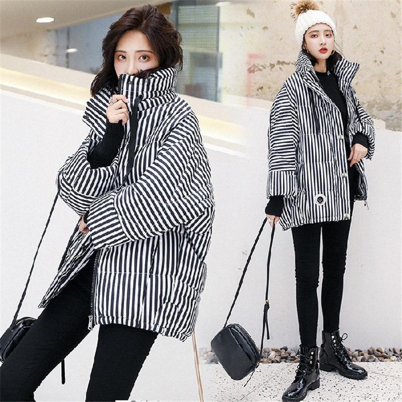 Jacket Outono Inverno Brasão Mulheres Moda Feminina gola Harajuku Parkas acolchoado Quente Casual revestimento listrado Overcoat Parkas n8Tk #
