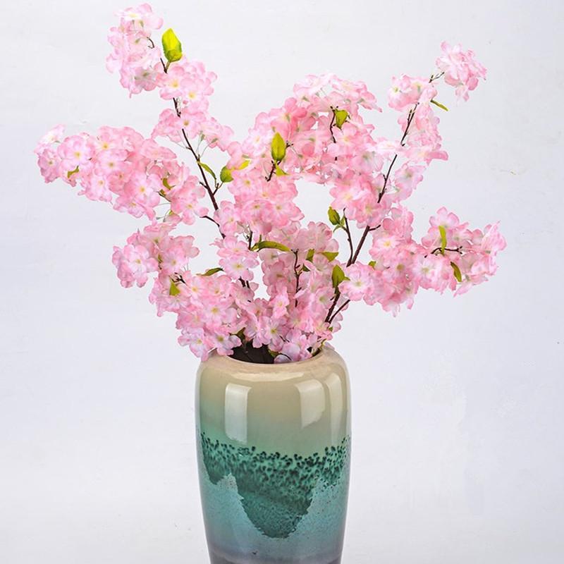 100 سنتيمتر طويلة باقة اصطناعية محاكاة الكرز زهرة زهرة بيضاء والوردي المتاحة للمنزل الزفاف حزب الديكور لوازم