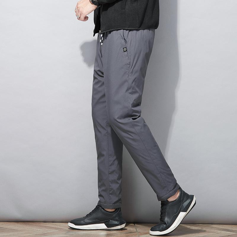 Men's Pants 2021 Autumn And Winter Straight Down Wadded Trousers Tied Elastic Waist Pure Color Warm Keeping Casual
