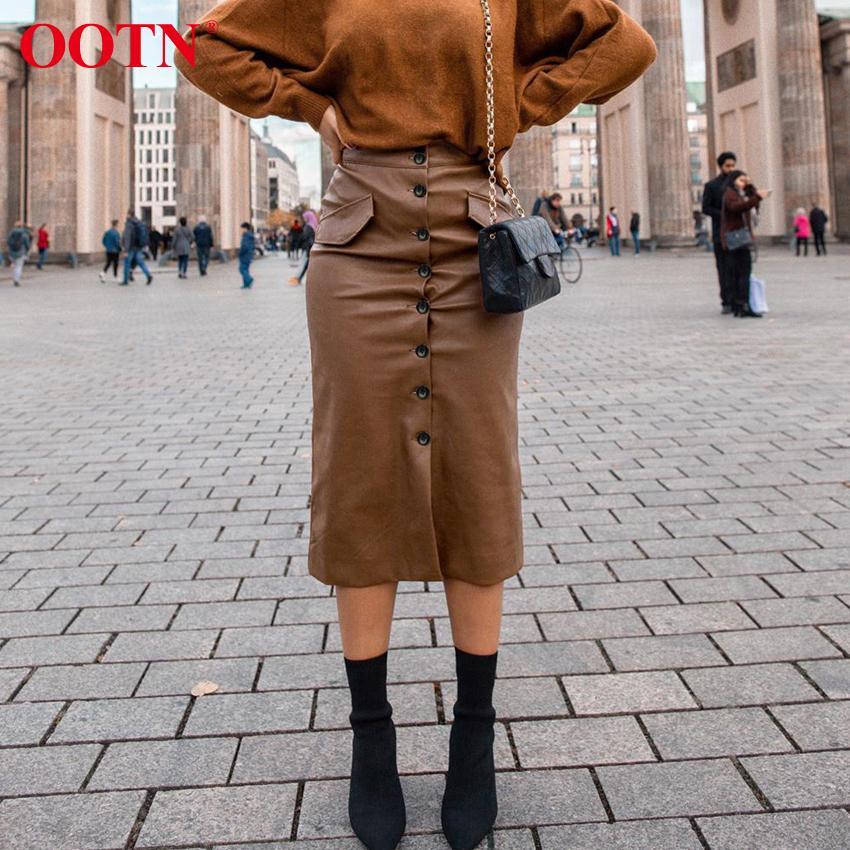 Ootn En Cuir Brown Taille High Taille Femmes Bureau à poitrine Single Femmes Élégantes Jupes longue Hiver Automne Jupe Midi Poche Y200326