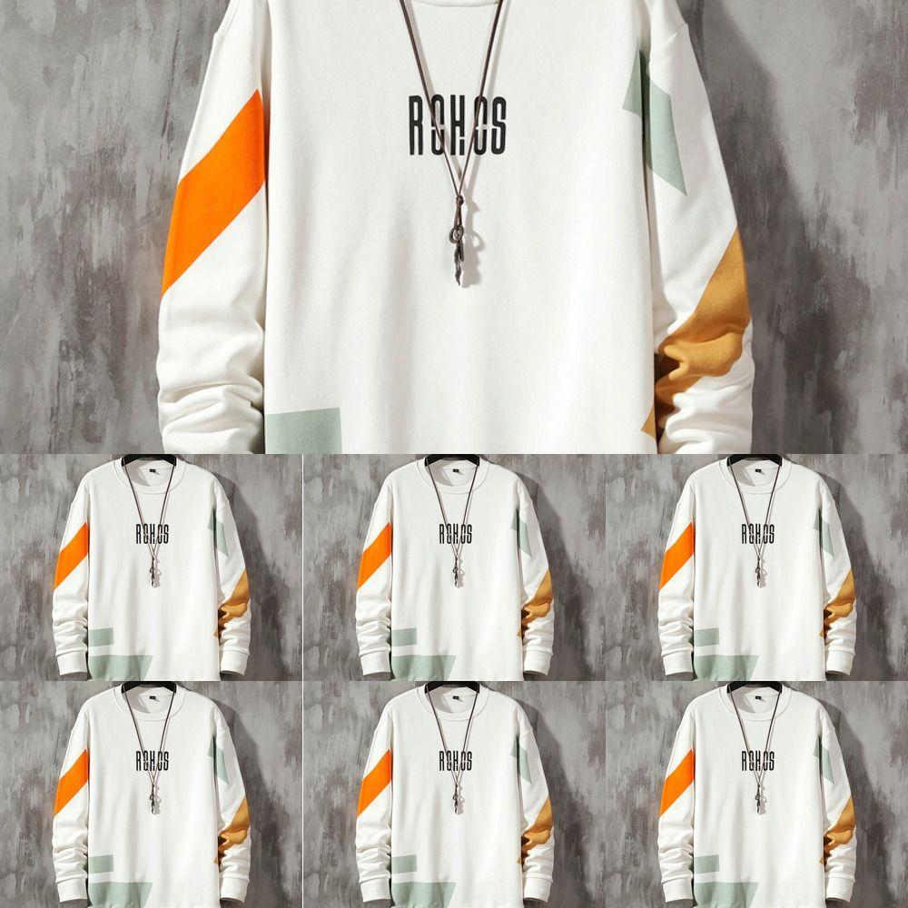 Outono Primavera dos homens novos T-shirt manga longa coreano moda cor bonito correspondência simples t-shirt solto desgaste O roupas camisola camisola dos homens