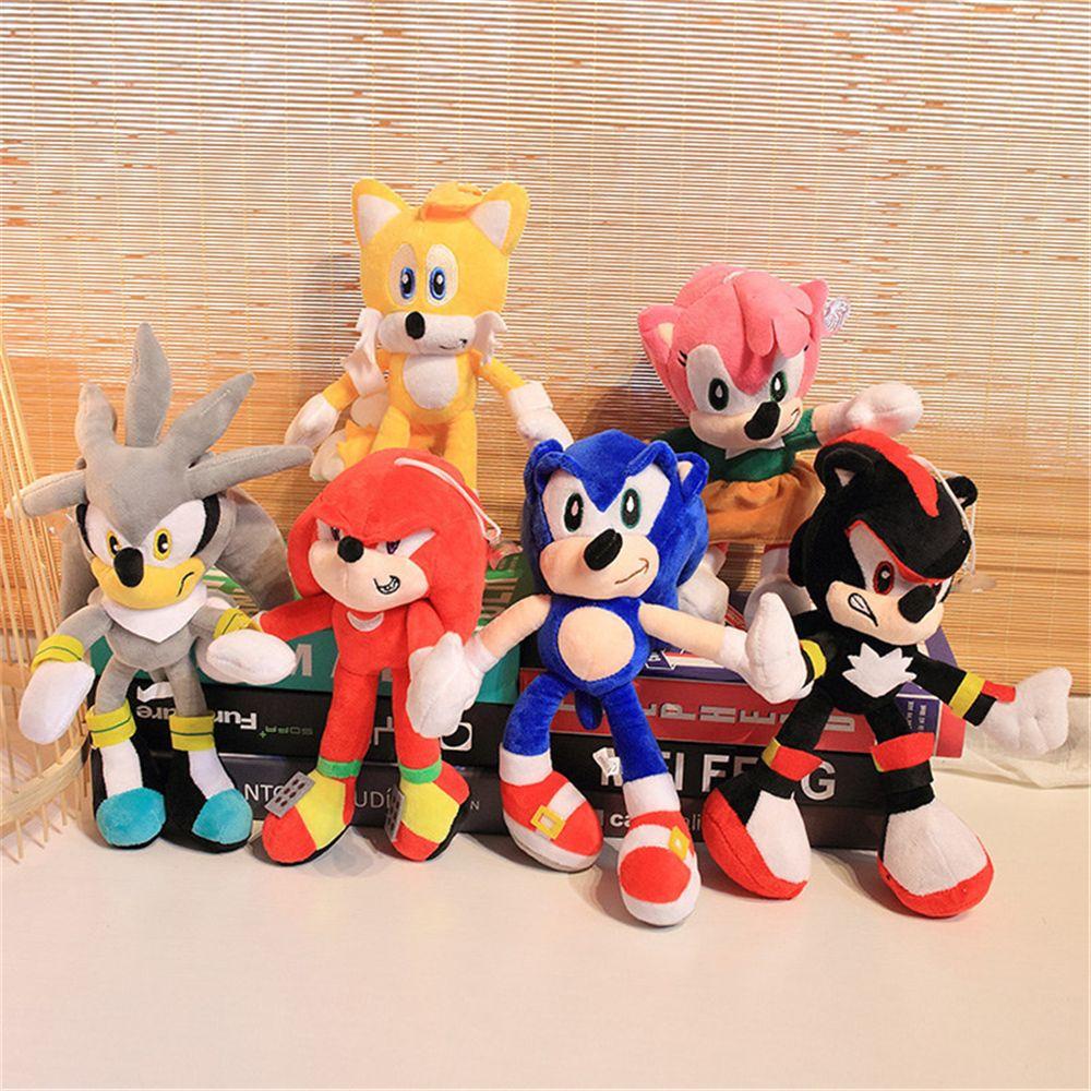 Hot 28cm Nova Chegada Sonic The Hedgehog Tails Sonic Knuckles O Echidna Stuffed Animals Plush Toys Gift DHL Fast Shipping