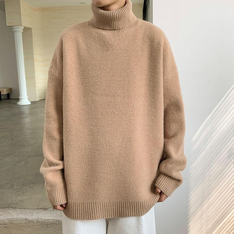 Invierno Slim Turtleneck Suéter Moda Cálida Moda Retro Punto de punto Casual Hombres Streetwear Estilo Coreano Mensaje de peluche para hombre