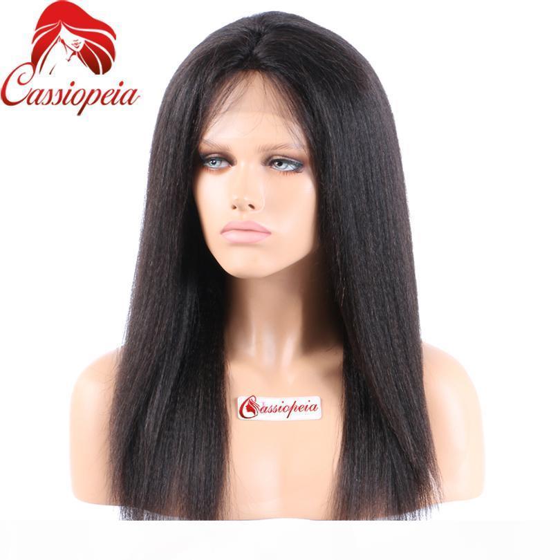 Parrucche di capelli umani del pizzo pieno di Remy indiano Yaki Straight Glueless Virgin Hair Light Yaki Piena parrucca in pizzo Parrucca del pizzo Parrucche anteriori del merletto per le donne nere