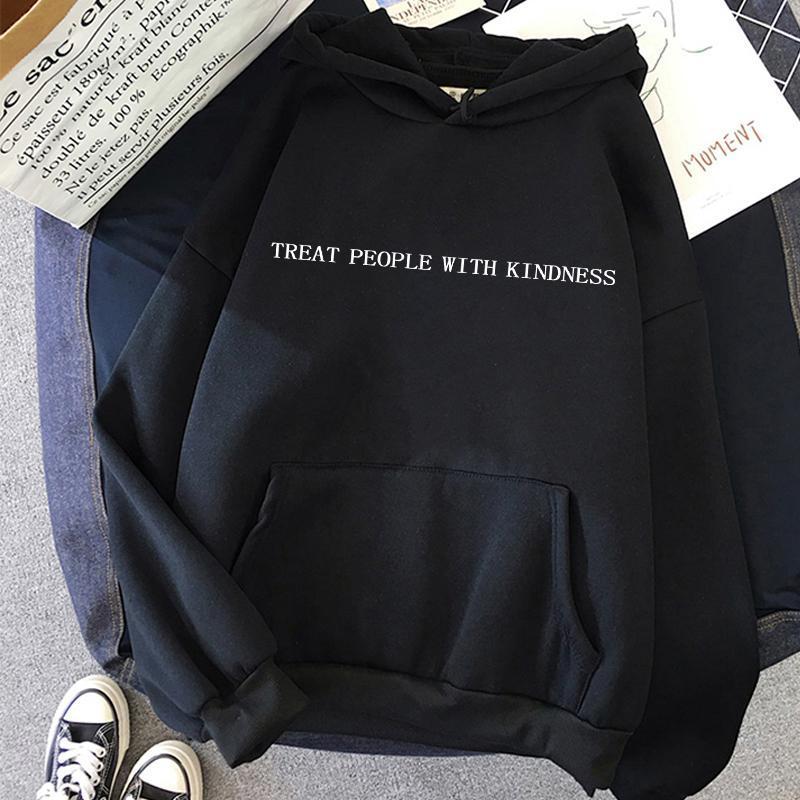 Kadın Hoodies Tişörtü Moda Harry Stilleri Hoodie Streetwear Kadınlar Nezaket Ile İnsanları Tedavi Uzun Kollu Gevşek Kapüşonlu Sweatshirt Ha