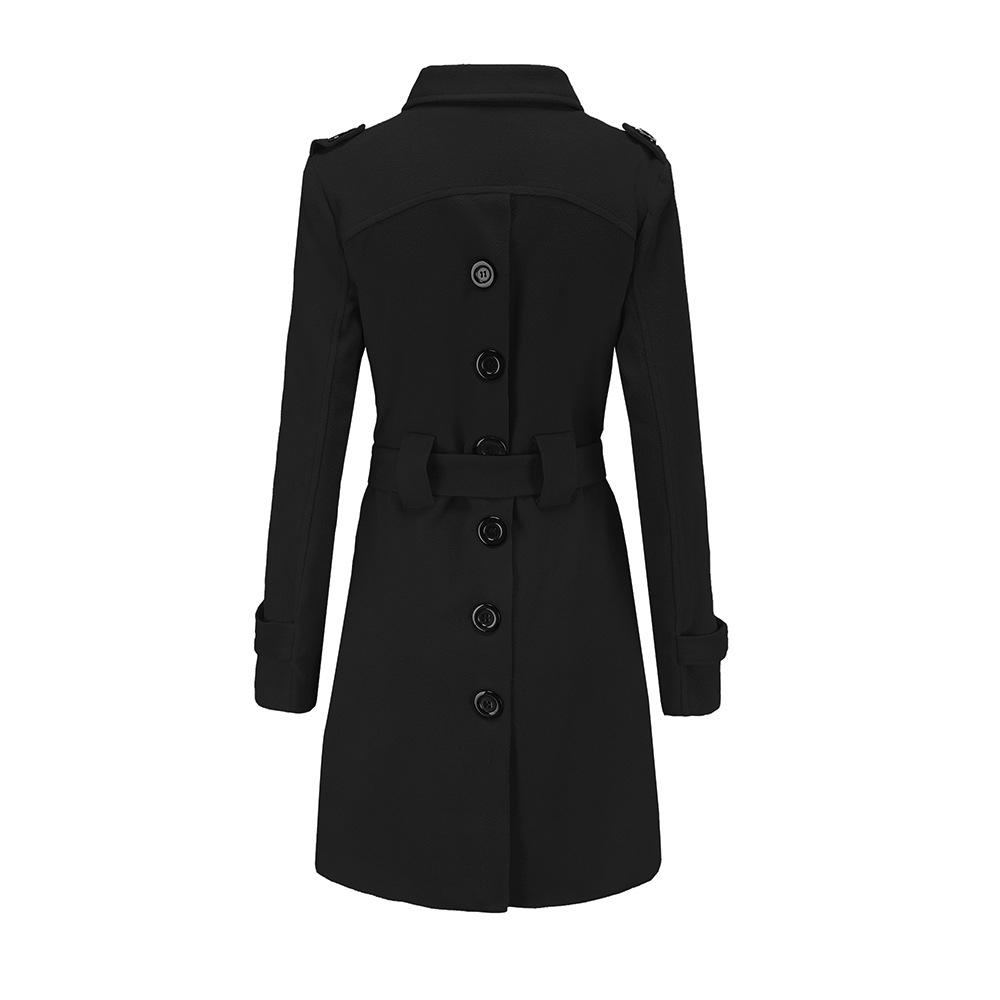 Sisjuly Women Gothic Black Yellow Red White Wool Jacket Coat Office Lady Spring Winter Belt Midi Long Outerwear Woolen Coats