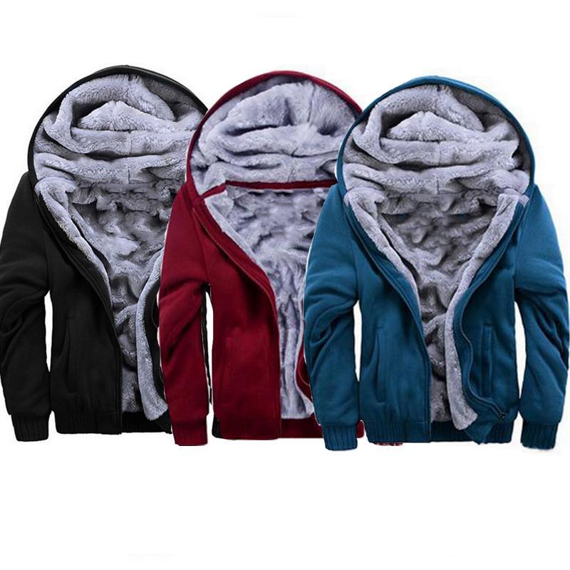 Kışlık süviterler Erkekler Fleece Sıcak Hood Kalın Parka Kadife Windproof Coat Erkekler Kazak Kapüşonlular Fermuar Erkekler Hoodies Ceket Y201006