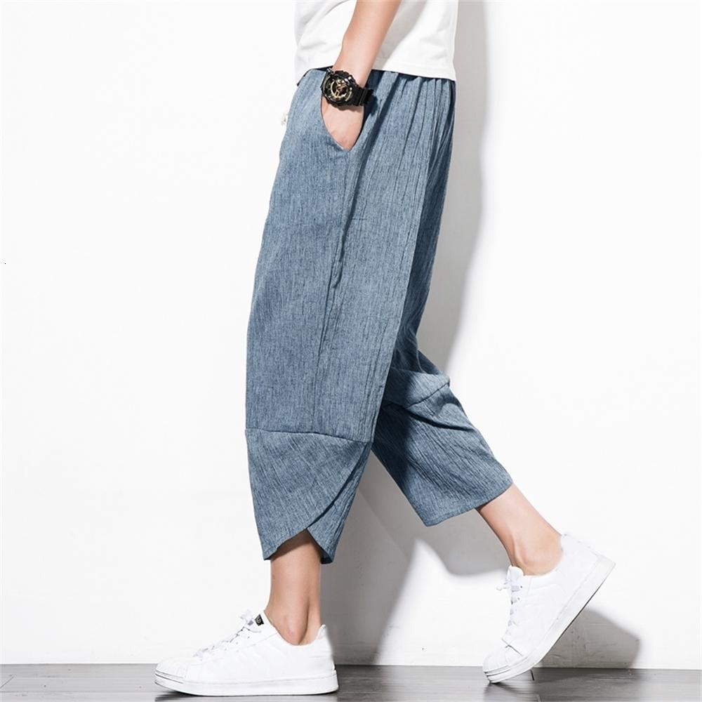 Men's Chinese Casual Wind Linen Pants Loose Large Size Cropped Trousers Beach Pants Male Sweatpants Cargo harem Streetwear