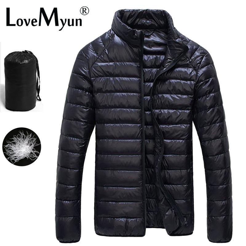 Coat Dış Giyim 2020 Sonbahar Kış Puffer Ördek Ceket Ultra Hafif Erkekler% 90 Su geçirmez Aşağı Parkas Moda Erkek Yaka
