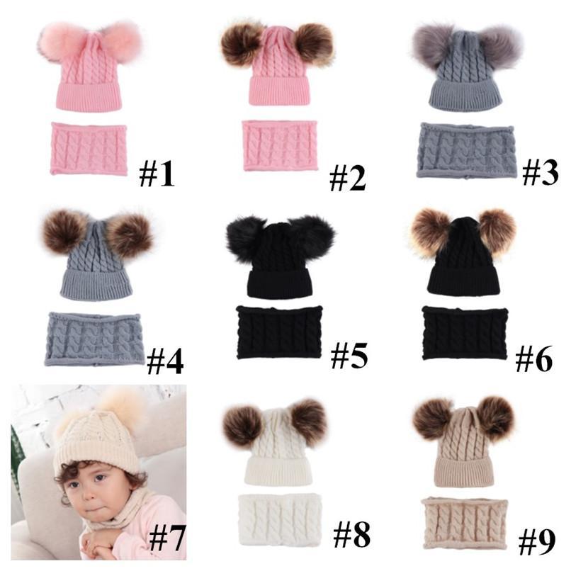 Baby hats scaft 2 pcs set Pom Pom Beanies for 0-2 Years Kids Infants girls boys Winter Hat Twist Knit Skull Caps Scarf Set cap E102001