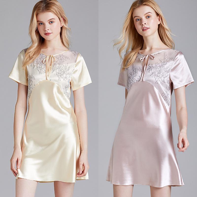 Pigiama da donna Summer Mesh Silk sottile manica corta da notte da notte da donna estiva donna indossare Nisette Femme Pajama Femme
