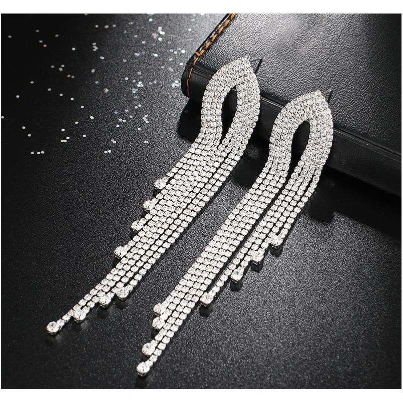 Yfjewe Fashion Women Long Streamined Tassel Crystal Pendientes Mujer Chica Joyería P Sqcfkv Beauty888