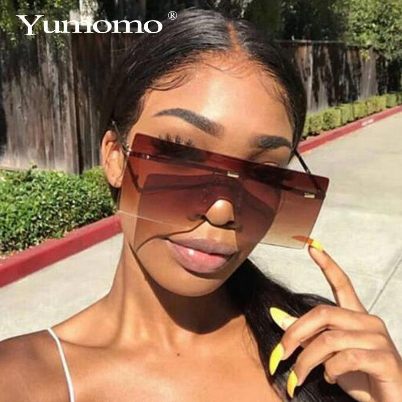 Luxury Rimless Brand Glasses One Sun Designer Lens Oversized Shades Fashion Piece Sunglasses Women Large Eyewear Big Gradient Pjdgf